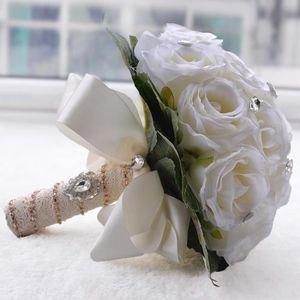 FLEUR ARTIFICIELLE BLANC 27*25cm bouquet de mariage boule de rose art