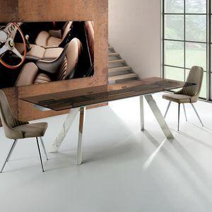 TABLE À MANGER SEULE Table en verre avec rallonge Suma W 90 x 140/210cm