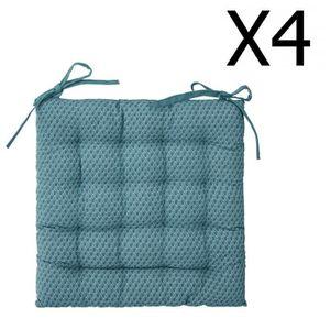 COUSSIN DE CHAISE  Lot de 4 Galettes de chaise bleu canard à motifs -