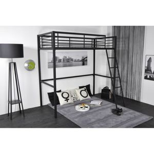 lit mezzanine metal 1 place achat vente lit mezzanine metal 1 place pas cher cdiscount. Black Bedroom Furniture Sets. Home Design Ideas