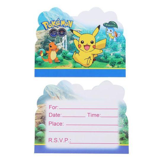 carte d invitation papier pokemon 10 pieces decorations de fete d anniversaire reception cadeau pour be modele kuyqkpb08265