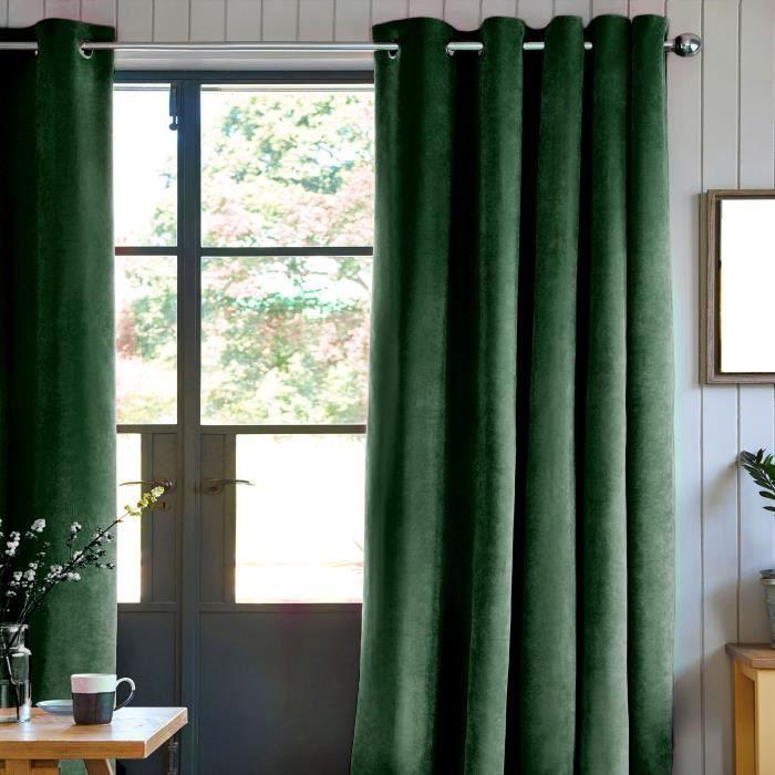 Rideau velours 100% Polyester - Vert foncé - 140x250 cm