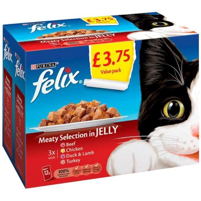 Nourriture pour chats Felix Pouch Boeuf Sélection en Gelée 12pk £ 3.75, 100 g 38844