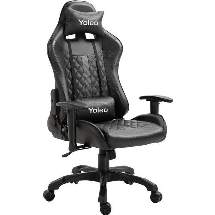 Chaise de bureau GAMING fauteuil ergonomique avec coussins - noir