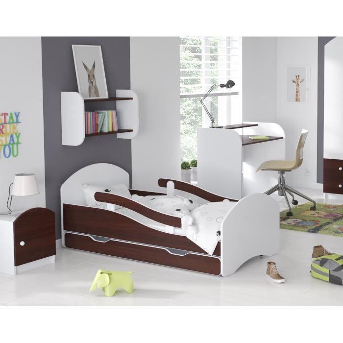 LIT ENFANT Dreams 70x140cm, AVEC MATELAS & BARRE DE SECURITE & TIROIR – Wenge