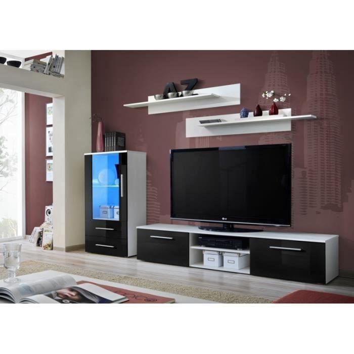 Ensemble meuble pour salon GALINO H design, coloris blanc mat et noir brillant. Meuble moderne et tendance pour votre salon.