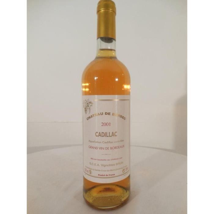 cadillac château de berbec liquoreux 2001 - bordeaux france
