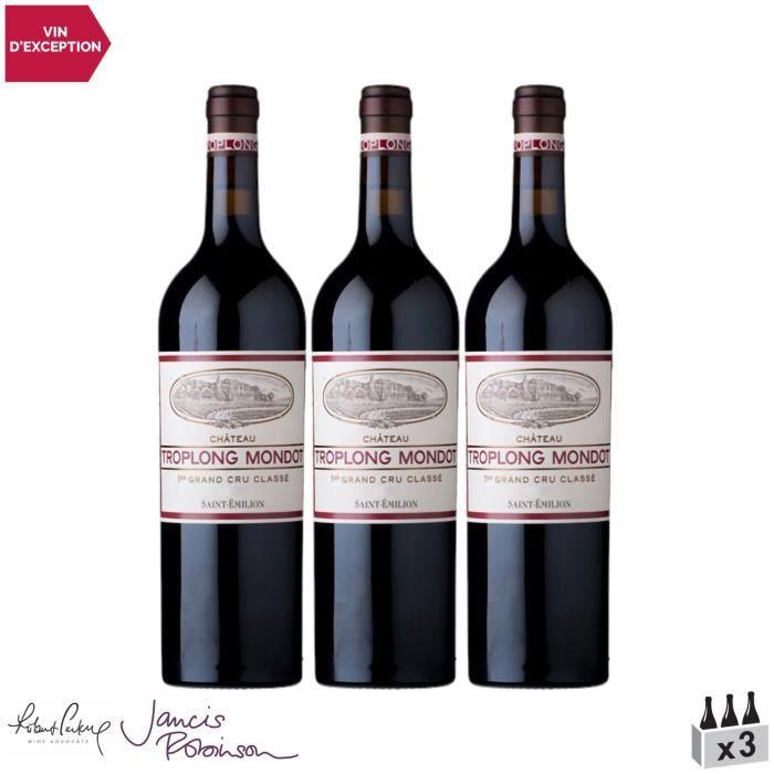 Château Troplong Mondot Saint-Emilion 1er Grand Cru Classé B Rouge 2015 - Lot de 3x75cl - Vin AOC Rouge de Bordeaux