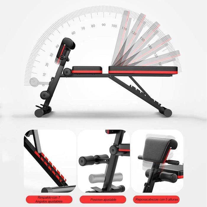 Banc de musculation réglable- banc de musculation- banc de musculation complet- dossier pliant- design compact (bancs réglables[10]