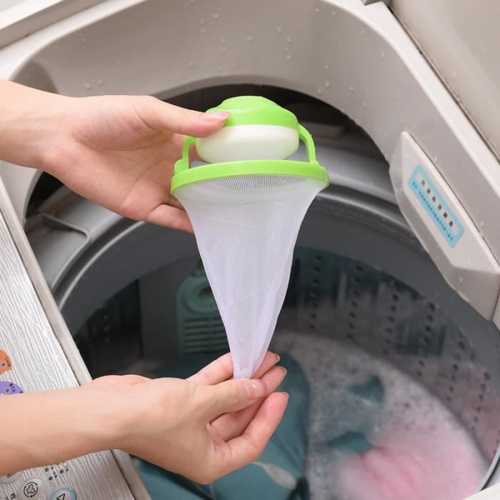 DREAMTE - Filtre Attrape-Poils Anti-Peluches - Boule Flottante Réutilisable nettoyage boule sacs à filtre pour Machine à Laver -Vert