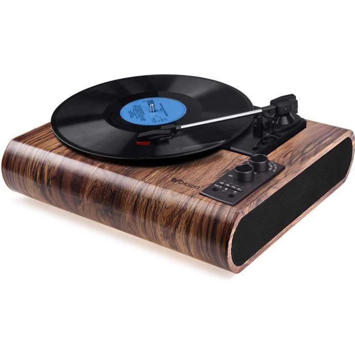 Platine Vinyle, VOKSUN Tourne Disque Vintage Bluetooth vinyles LP Lecteur vinyles à 3 Vitesses avec Haut-Parleur stéréo intégré , Fo