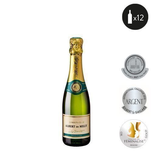 12 bouteilles - Champagne blanc - Effervescent - Albert De Milly TRADITION Blanc 12x37,5cl