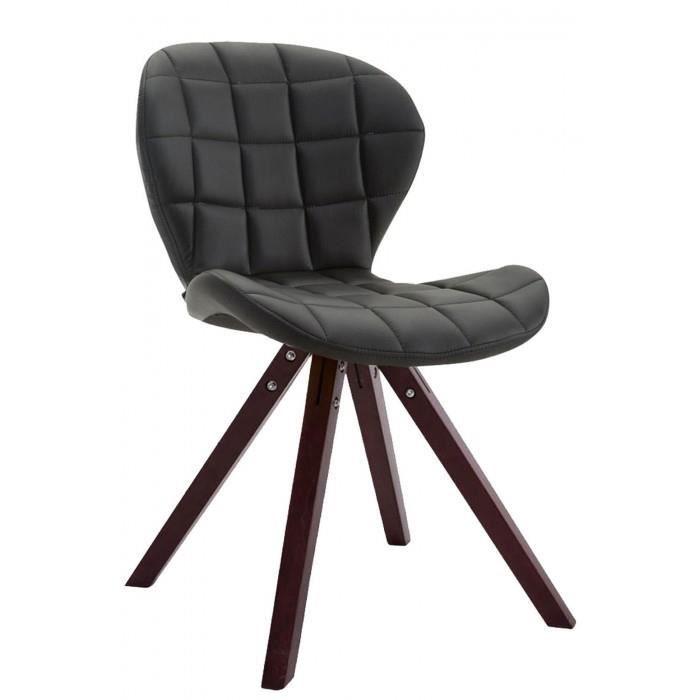 Joli Chaise visiteur edition Saint-Georges cuir synthetique carre cappuccino (chene) couleur noir