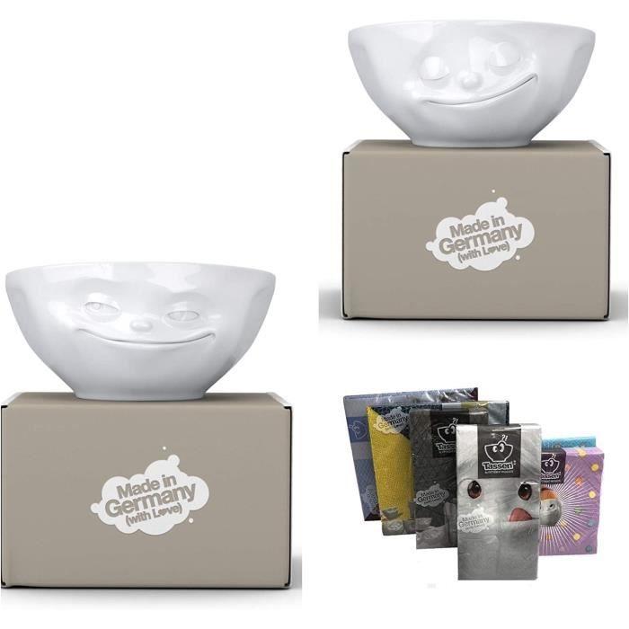 BOL Fiftyeight Products Lot de 2 bols 350 ml, d&eacutecor visage heureux et visage qui sourit + serviettes99