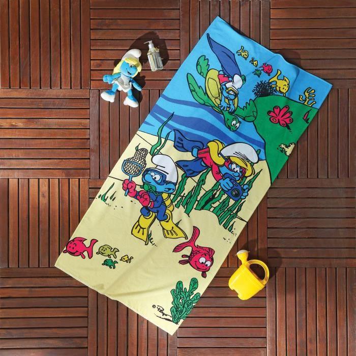 Schtroumpfs Underwater Blue Bath Serviette de plage pour nager, piscine, yoga et spa (75x150 cm), 100% pur coton