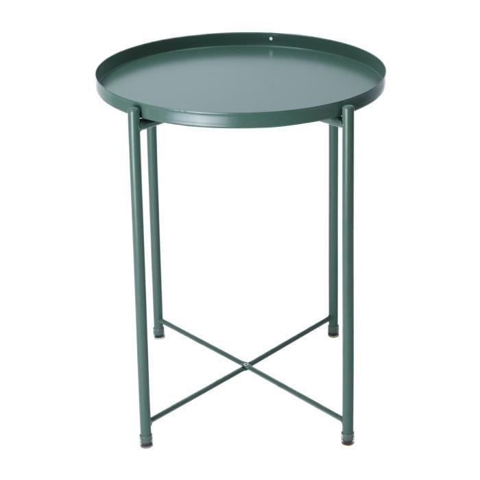 Table basse ronde moderne en métal antidérapant Table d'appoint robuste pour salon intérieur extérieur lit chambre_Vert