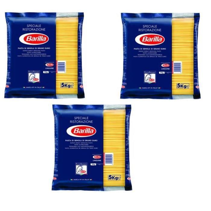 BARILLA Pâtes Linguine - Lot de 3 Paquets de 5 kg