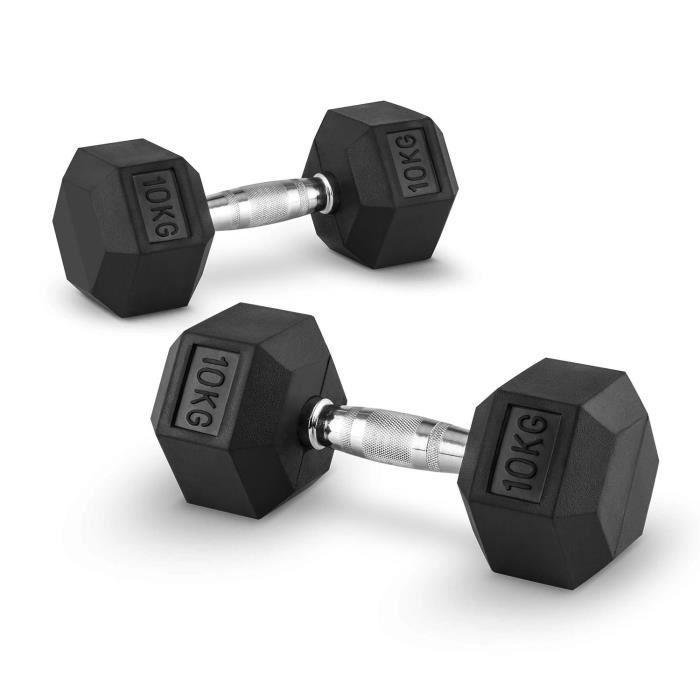 CAPITAL SPORTS Hexbell - Paire d'haltères courts pour musculation, cross-training… (caoutchouc résistant , prise chromée) - 2x 10kg