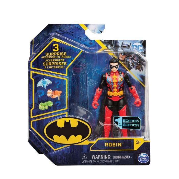 Coffret Figurine Robin 10 cm Avec 3 Accessoires - DC - Personnage Super Heros Tenue Rouge Et Noire - Nouveaute Jouet garcon