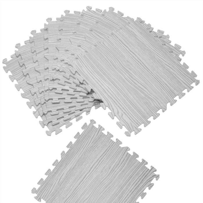 Tapis Puzzle Aspect Bois Gris - 8 pièces Tapis de Sol Protection 8 x 45,5 cm x 45,5 cm = 1,62m² Anti-dérapant Amortissement Bruit