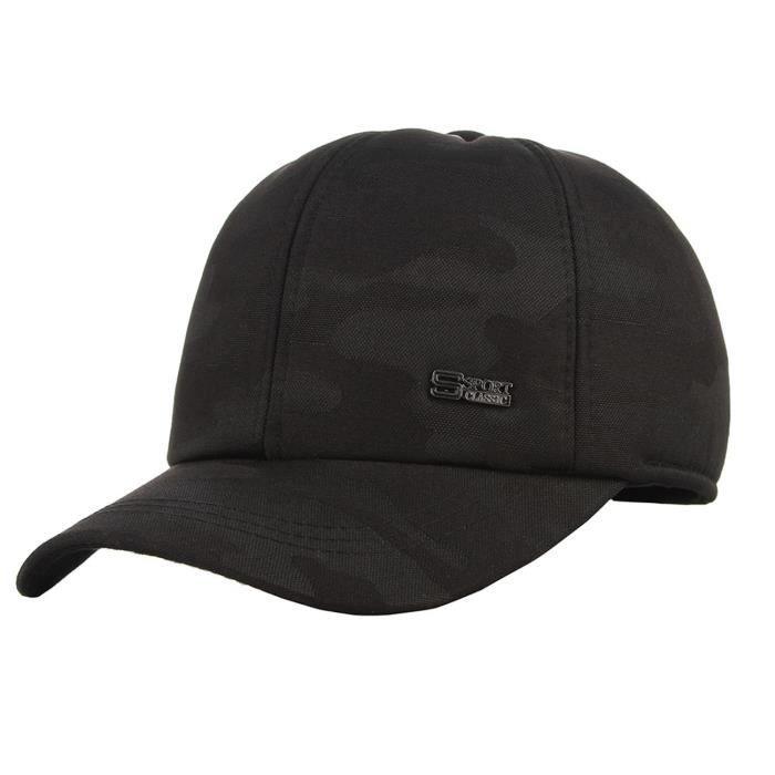 EOZY Casquette Homme avec Cache-oreilles Réglable Epais Hip-hop Chapeau de Base-ball Anti-UV Sport Loisir Camouflage Sombre
