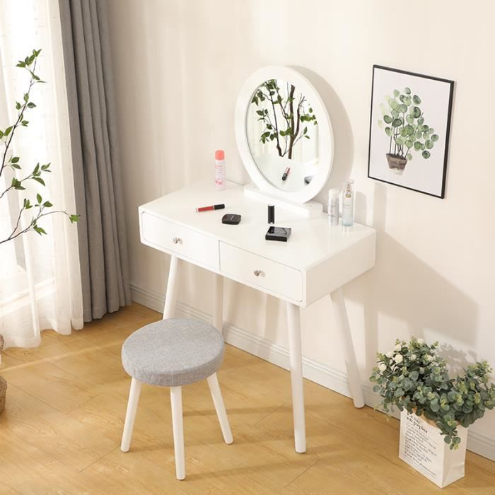 Coiffeuse avec Miroir Rond - Table de Maquillage avec 2 Tiroirs, Miroir et Tabouret - 80 x 40 x 128 cm