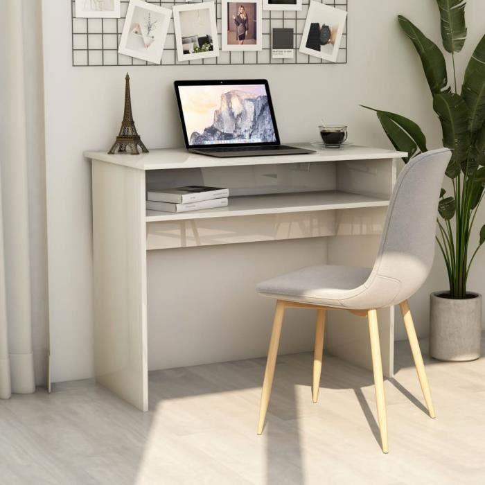 LAM Bureau Blanc brillant 90x50x74 cm Aggloméré