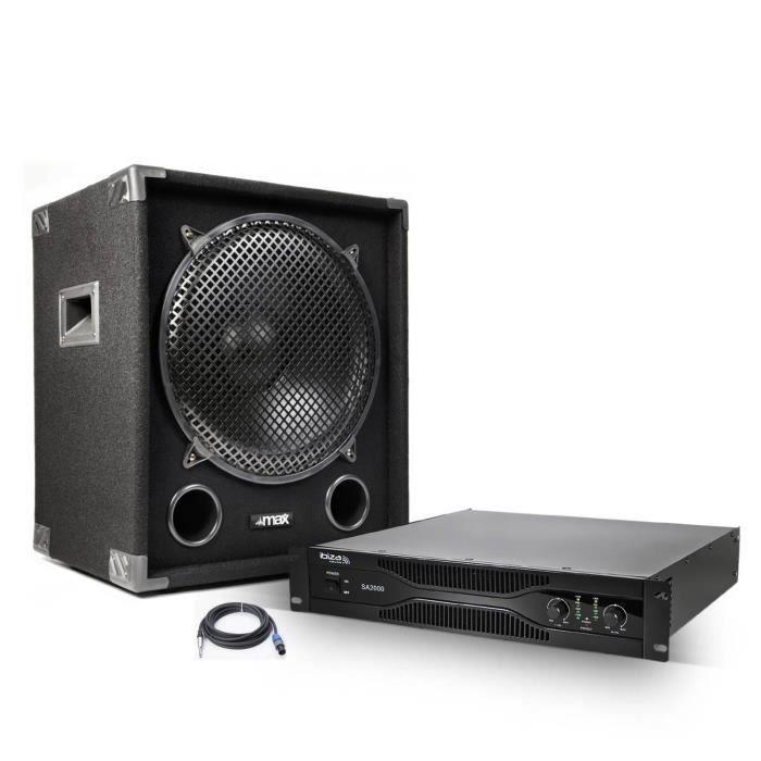 Amplificateur sono 2x1000 W + Caisson de basse 1200 W + Câblage nécessaire