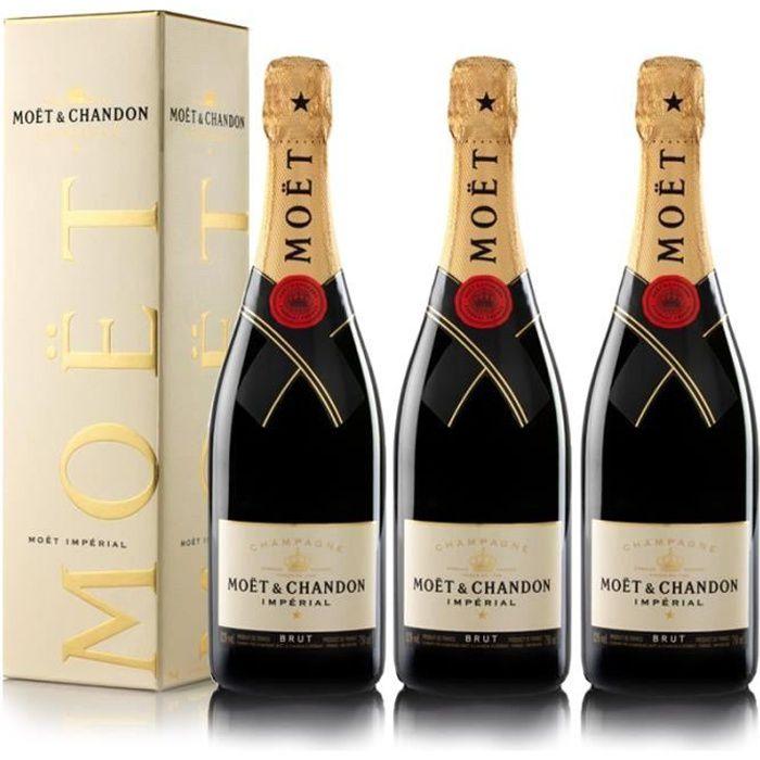 Lot 3 Champagnes Moët & Chandon Brut Moët Imperial 75cl avec étuis