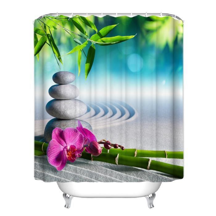 Rideau de douche Bambous pierres fleurs style de zen anneaux inclus 3D effect imperméable 180 x 200 cm