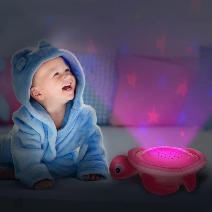Oregon Scientific - Veilleuse musicale et projecteur d'étoiles colorée Tortue (Rose) - TP618P