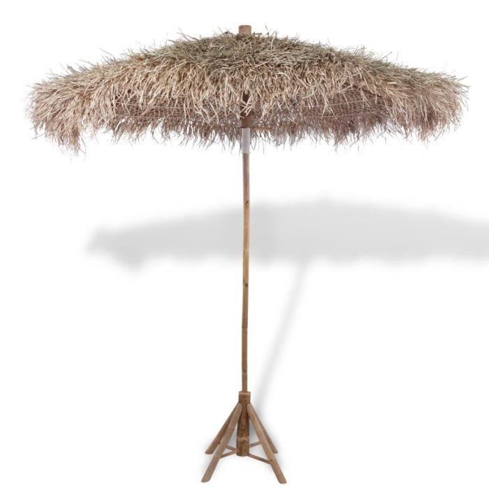 Economique Parasol en bambou avec toit en feuille de bananier 210 cm