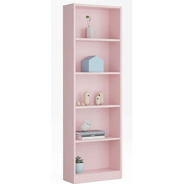 Bibliothèque avec 5 étagères coloris rose - Dim : H 180 x L 52 x P 25 cm