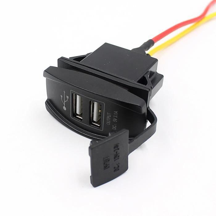 12-24 Prise d'Allume-Cigare double port USB de voiture pour iPad iPhone GPS portable avec LED(Noir)