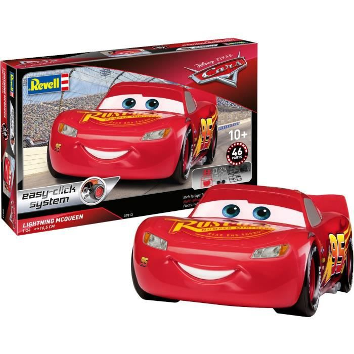 REVELL Easy-Click Cars Flash Lightning MCQueen 07813 Maquette Voiture plastique système Easy-Click, Rouge