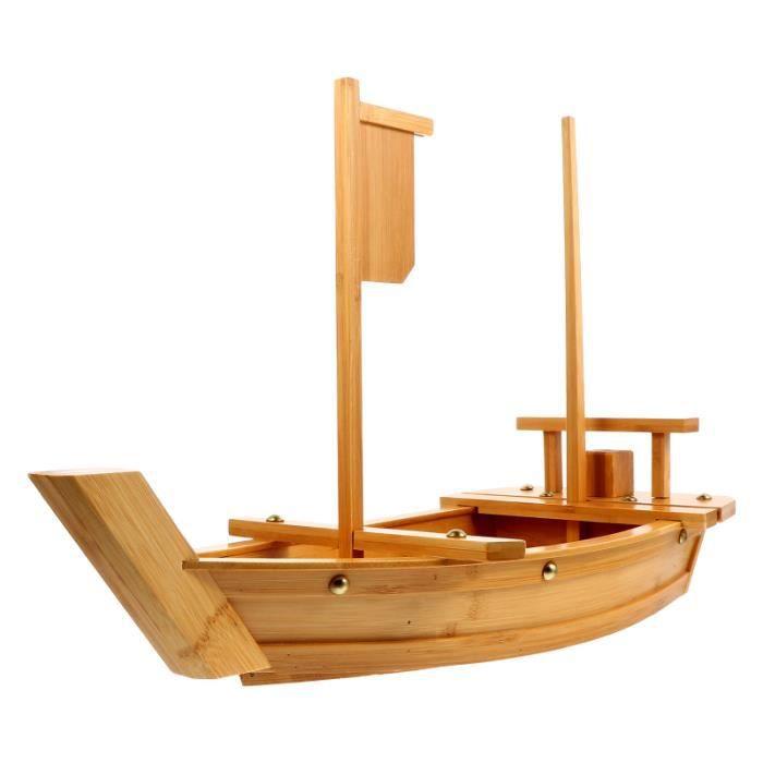 Assiette à sushi en bambou en forme de bateau Plat de service pratique pour collations SERVICE COMPLET - SERVICE DE TABLE