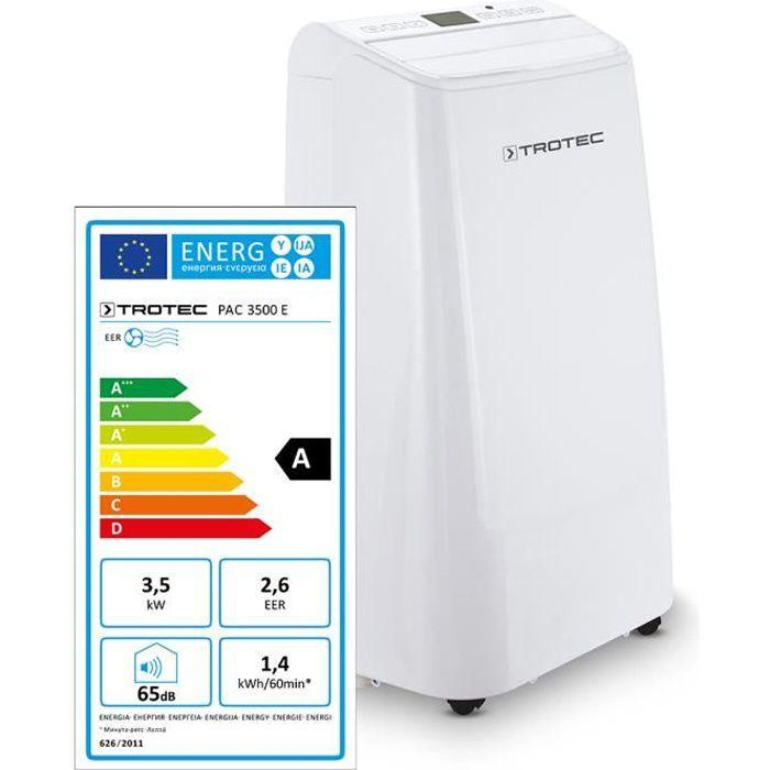 TROTEC Climatiseur PAC 3500 E de 3,5 kW pour pièces de 45 m² max., classe énergétique A