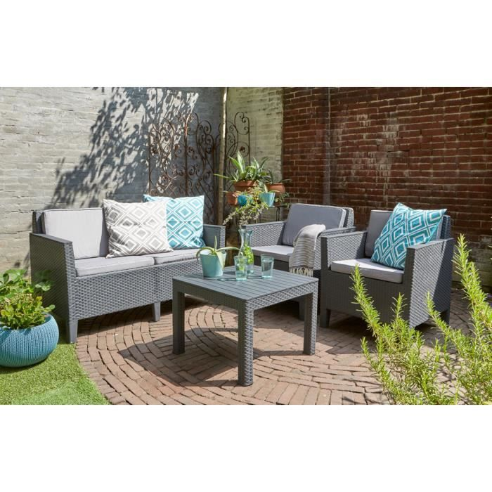 ALLIBERT Salon de jardin Coloris graphite - Achat / Vente salon de ...