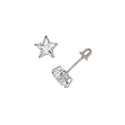 14K Or Jaune Finition Diamant Étoile Boucles d/'oreilles Créoles