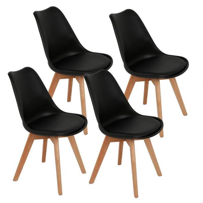 Pieds Noir Chaise Cuisine à rembourrée 4 de de Lot Manger de hêtre Assise Bois Massif scandinave en Salle Design Lq35Rj4A