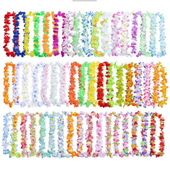 Lot de 48 collier hawaien Hawaïen multicolor ambiance tropique déguisement HK-01