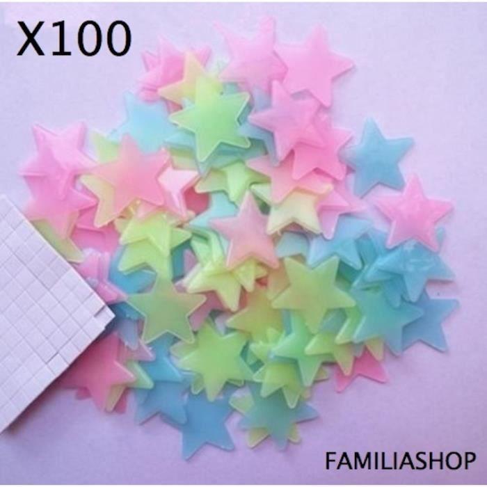 OBJET DÉCORATION MURALE Lot 100 étoiles phosphorescentes multicolores lumi