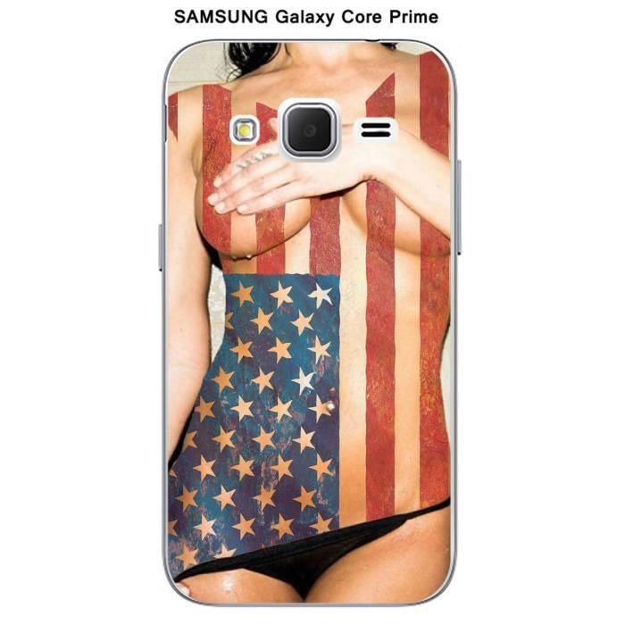 Coque Samsung Galaxy Core Prime Femme sexy USA - Cdiscount Téléphonie