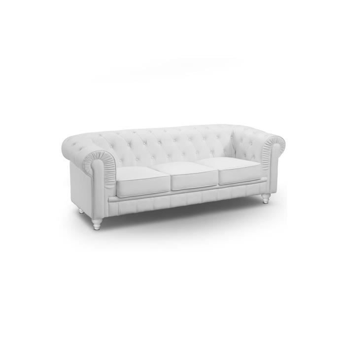 canap chesterfield 3 places cuir pu blanc achat vente. Black Bedroom Furniture Sets. Home Design Ideas