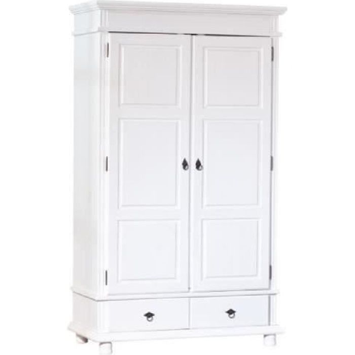 armoire danz penderie meuble tag res rangement bois massif blanc dim 1160x1990x570 achat. Black Bedroom Furniture Sets. Home Design Ideas