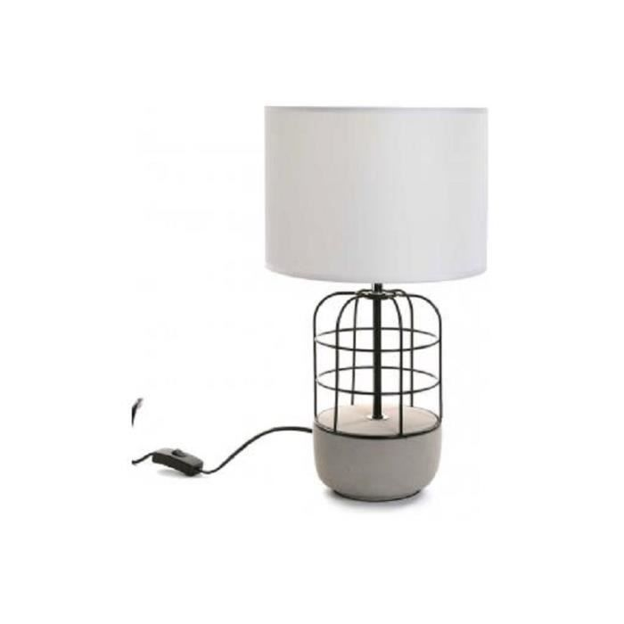 lampe de table style industriel en m tal blanc et noir h45. Black Bedroom Furniture Sets. Home Design Ideas