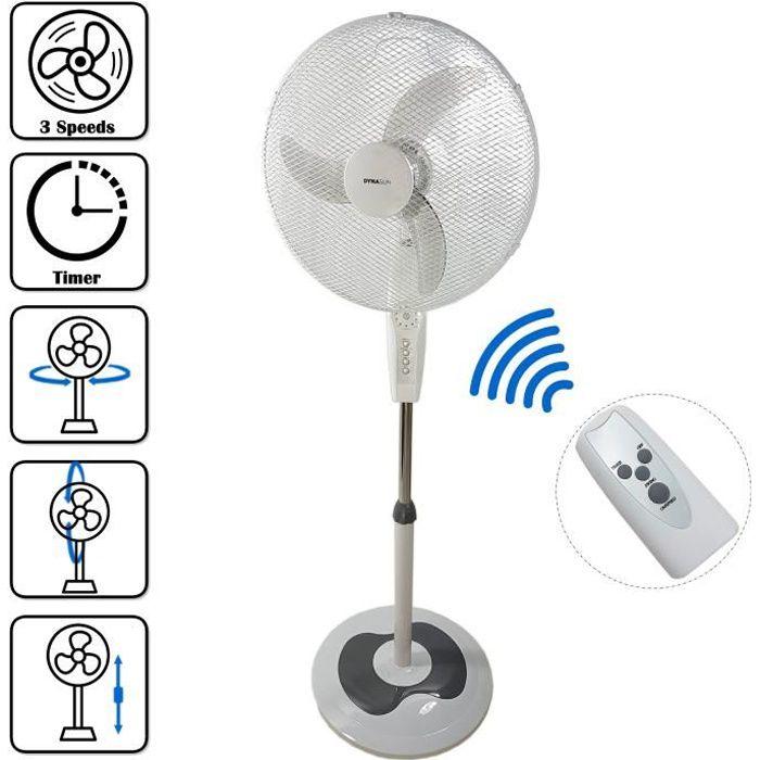 Turbo Silence Oscillant 16 pouces Support Ventilateur Avec Télécommande 4-Vitesse argent
