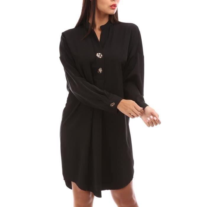 Robe Fluide Noire A Manches Longues Et Boutons Dores Noir Achat Vente Robe Cdiscount