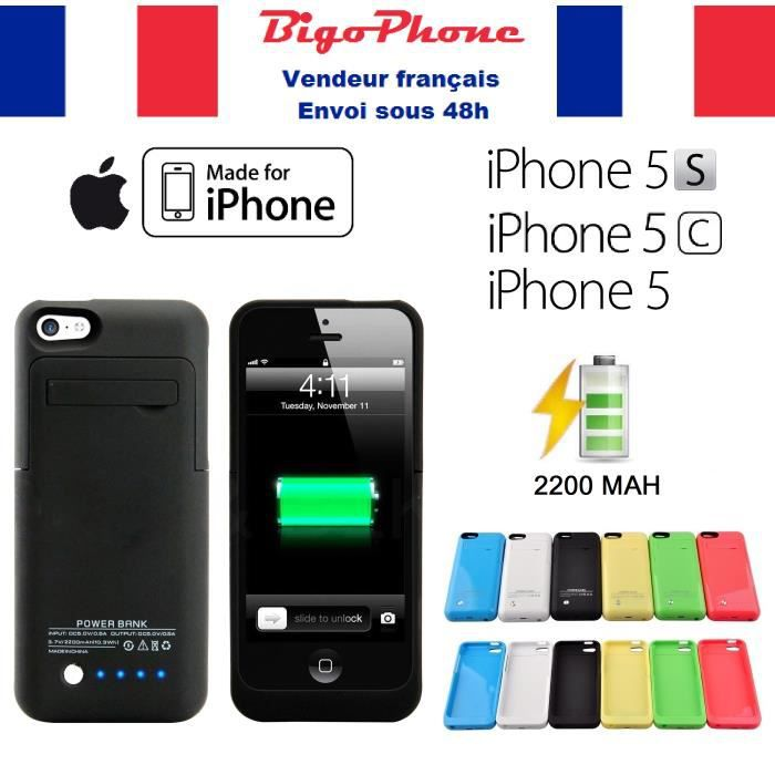 coque batterie rechargeable 2200mah noir iphone 5s 5c 5. Black Bedroom Furniture Sets. Home Design Ideas