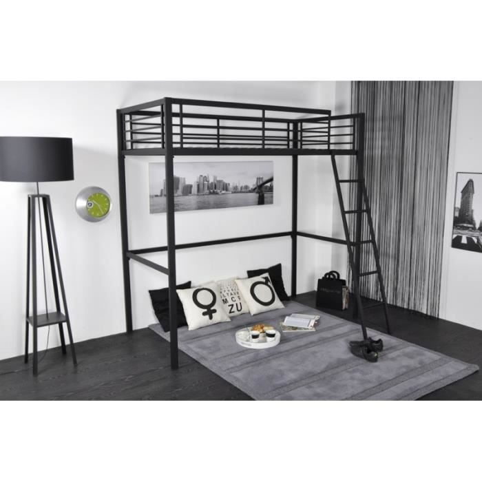 lit mezzanine en 90 m tal coloris anthracite hicoal achat vente lit mezzanine soldes d. Black Bedroom Furniture Sets. Home Design Ideas